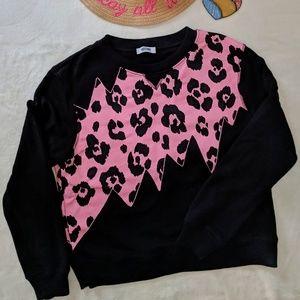 Moschino Pink & Black Leopard Print Sweatshirt US8